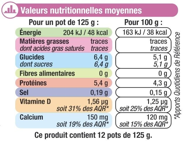 Yaourt nature 0%MG - Informations nutritionnelles - fr