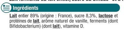 Lait fermenté au bifidus saveur vanille - Ingredients - fr