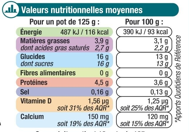 Lait fermenté au bifidus saveur vanille - Nutrition facts - fr