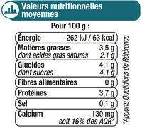 Lait fermenté au lait entier au bifidus nature - Nutrition facts