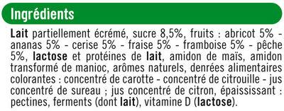 Yaourts brassés sucrés à la pulpe de fruits, - Ingrédients