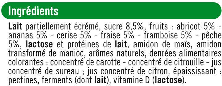 Yaourts brassés sucrés à la pulpe de fruits, - Ingredients
