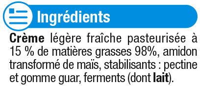 Crème fraiche épaisse légère 15%mg - Ingrédients - fr