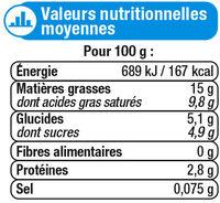 Crème fraiche épaisse légère 15%mg - Nutrition facts