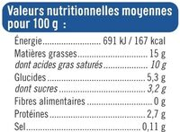 Crème fraiche épaisse légère 15%mg - Informations nutritionnelles - fr
