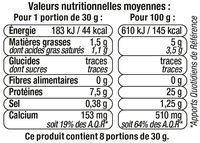 Fromage allégé - Informations nutritionnelles