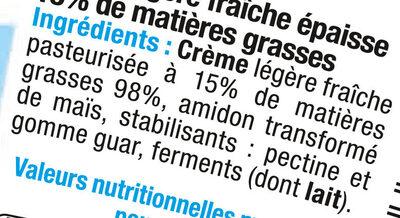 Crème fraîche épaisse légère 15%MG - Ingredients - fr