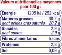 Crème fraîche épaisse 30%mg - Informations nutritionnelles - fr
