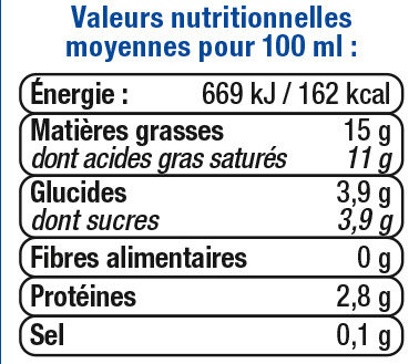 Crème légère liquide UHT 15%MG - Nutrition facts - fr