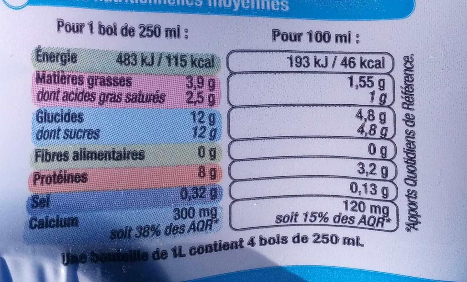 Lait 1/2 écrémé - Nutrition facts - fr