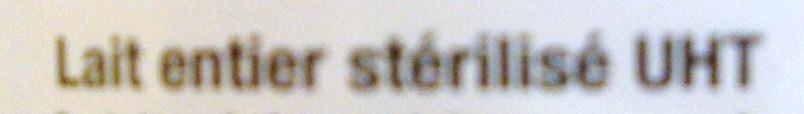 Lait entier stérilisé UHT - Ingrédients - fr