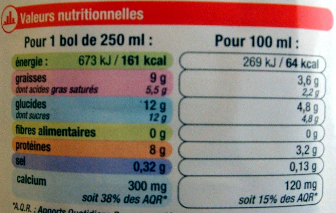 Lait entier stérilisé UHT - Informations nutritionnelles - fr