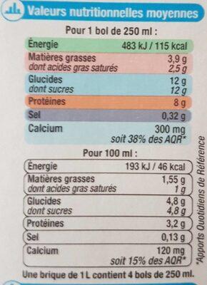 Lait demi écrémé UHT - Voedingswaarden - fr