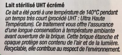 Lait écrémé UHT - Ingrediënten