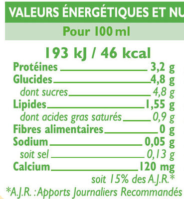 Lait UHT 1/2 écrémé - Informations nutritionnelles - fr