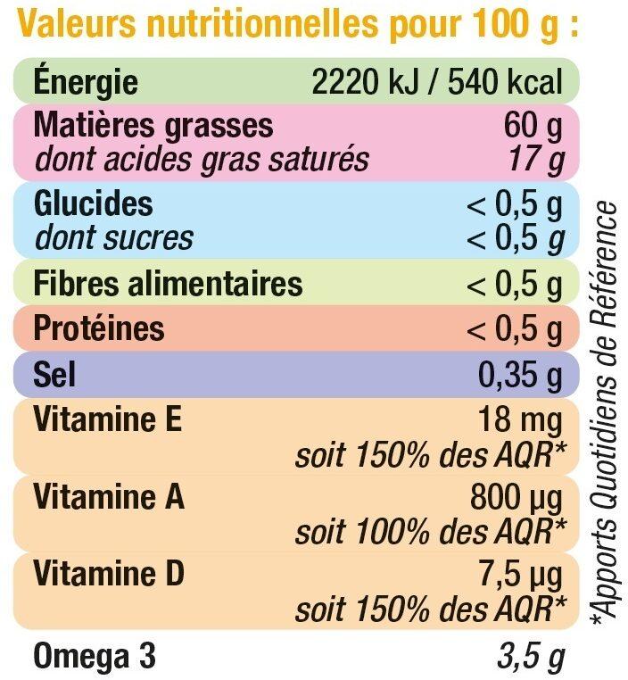 Margarine allégée de cuisson au tournesol 60% de MG - Voedingswaarden - fr