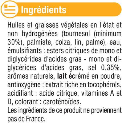 Margarine allégée de cuisson au tournesol 60%MG - Ingrédients