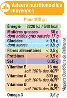 Margarine allégée de cuisson au tournesol 60%MG - Informations nutritionnelles