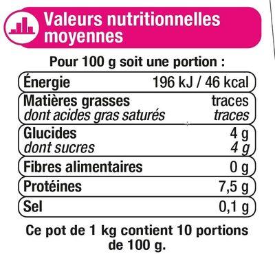 Fromage blanc nature 0% - Valori nutrizionali - fr