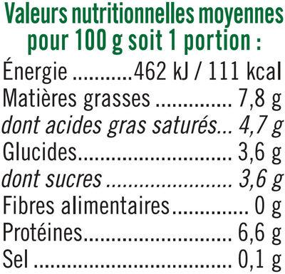 Fromage frais de Caractère 8%MG - Nutrition facts - fr