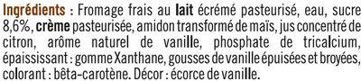 Fromage frais sucré lait pasteurisé saveur vanille 2,5%MG - Ingredients
