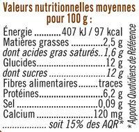 Fromage frais sucré lait pasteurisé saveur vanille 2,5%MG - Nutrition facts