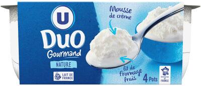 Fromage frais pasteurisé nature sous mousse de crème fouettée - Produit - fr