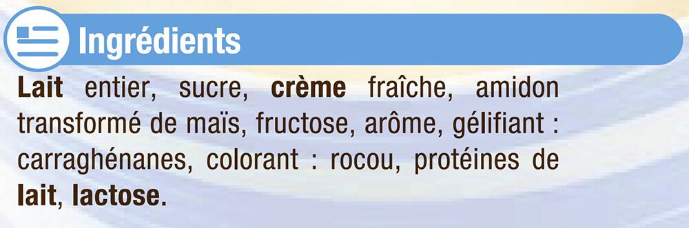 Crème dessert Saveur Vanille - Ingrédients - fr