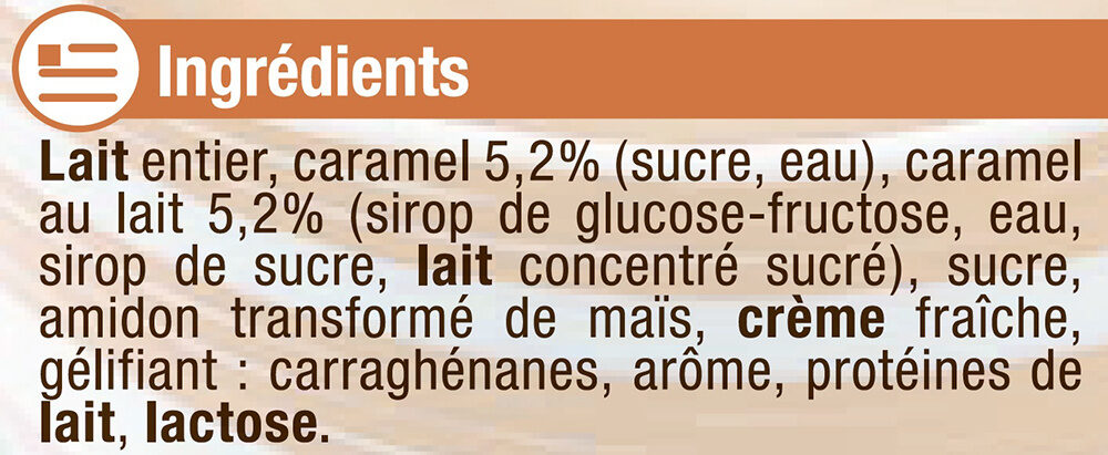 Crème dessert saveur caramel - Ingrédients