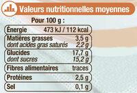 Crème dessert saveur caramel - Informations nutritionnelles