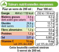 Pur jus orange et Fruits orange abricot kiwi - Informations nutritionnelles - fr