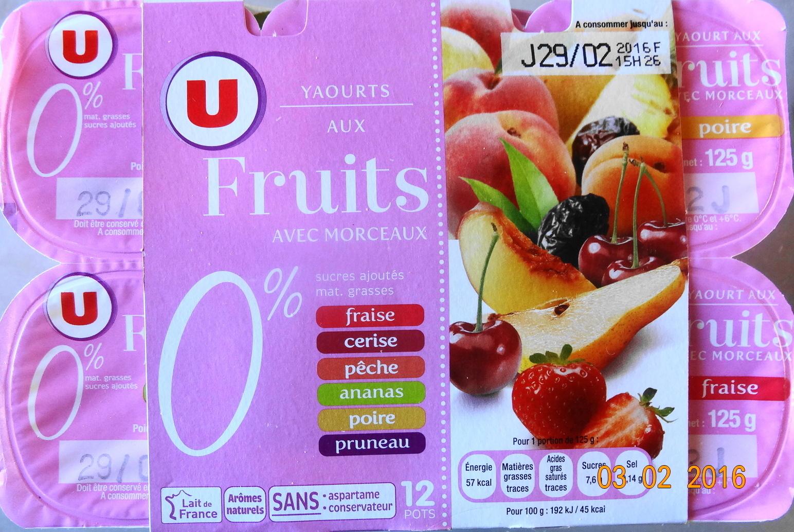 Yaourts 0% mg, aux fruits avec morceaux, fraise-ceris-pêche-ananas-poire-pruneau - Product