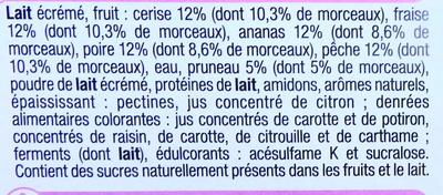 Yaourts 0% mg, aux fruits avec morceaux, fraise-ceris-pêche-ananas-poire-pruneau - Ingrediënten