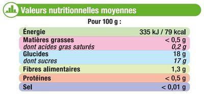 Dessert de fruits aux pommes - Informations nutritionnelles - fr
