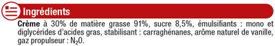 Crème sucrée vanillée UHT sous pression 27% de MG - Ingrediënten