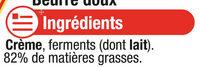 Beurre extra fin doux 82%mg, - Ingrediënten