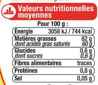 Beurre extra fin doux 82%mg, - Voedigswaarden
