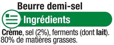 Beurre extra fin demi-sel 80% de MG - Ingredients - fr