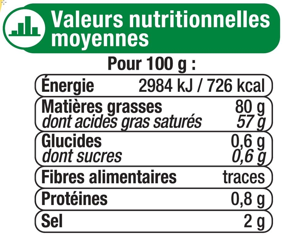 Beurre extra fin demi-sel 80% de MG - Nutrition facts - fr