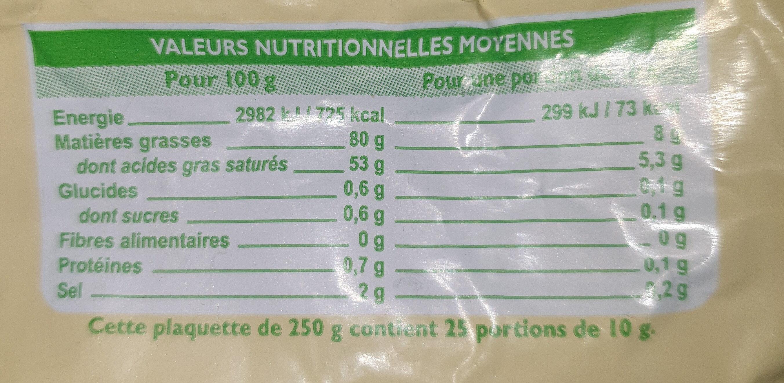 Beurre demi sel de baratte - Informations nutritionnelles - fr