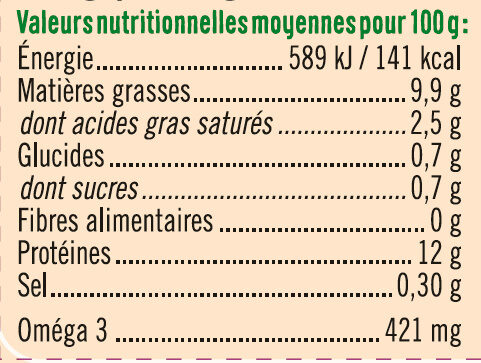 6 oeufs poules plein air calibre mixte - Informations nutritionnelles - fr