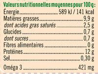 Œufs poules plein air - Informazioni nutrizionali - fr