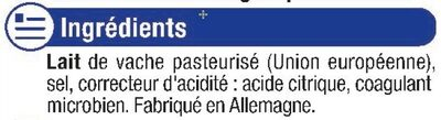 Mozzarella au lait pasteurisé 18% de MG - Ingredients - fr