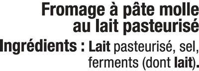 Coulommiers au lait pasteurisé, 24%MG - Ingrediënten