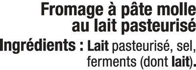 Coulommiers au lait pasteurisé 24%MG - Ingrediënten - fr