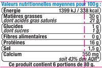Fromage double crème au lait pasteurisé 30% de MG - Informations nutritionnelles