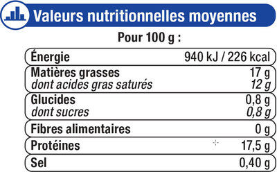 Mozzarella au lait pasteurisé 17%MG - Nutrition facts