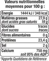 Fromage de Hollande à pâte pressée en tranche Gouda au lait pasteurisé 30%mg - Informations nutritionnelles - fr