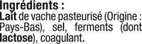 Edam en tranchettes au lait pasteurisé 24%MG - Ingrediënten