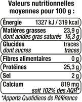 Edam en tranchettes au lait pasteurisé 24%MG - Voedigswaarden